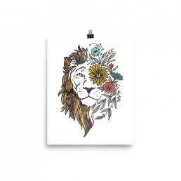 Textured Lion Design Print-UF