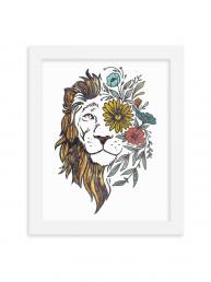 Textured Lion Design Print-WF